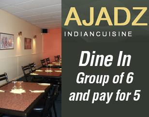 Pay only for 5 people for a group of 6 dining in!